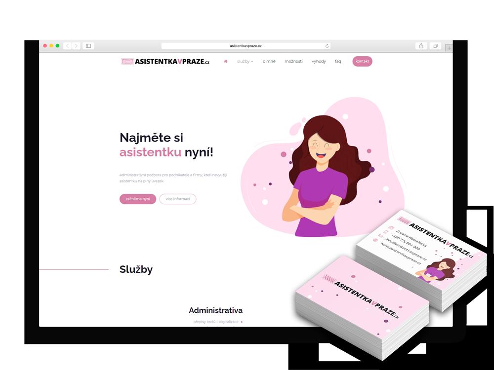 Webová stránka a vizitky Asistentka v Praze
