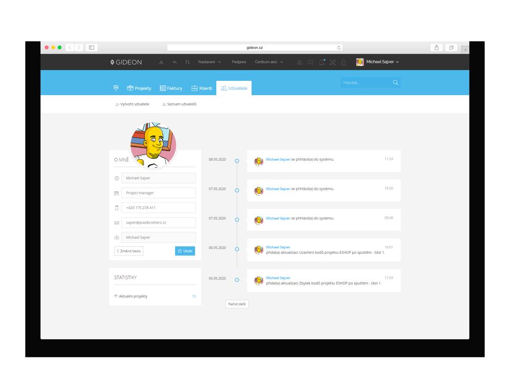 CRM Gideon - Profily uživatelů